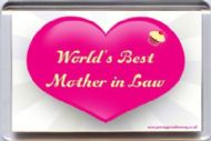 "World's Best Mother in Law "" Fridge Magnet a Unique Birthday Wedding Day Gift"